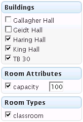 COWS room filtering by building, attribute, room type