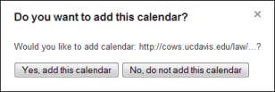 Google Calendar confirmation dialog
