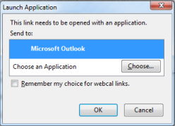 Outlook application launch dialog